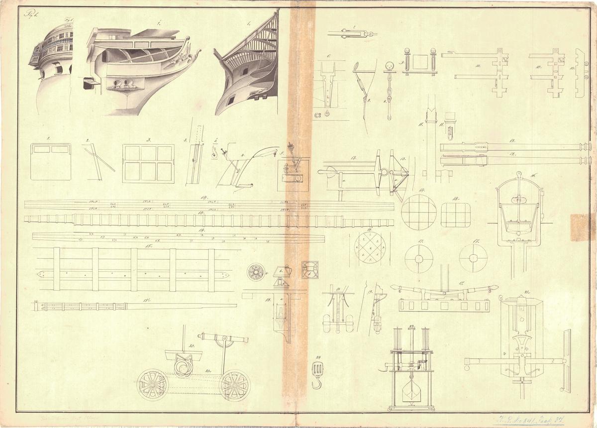 Detaljritning på för- och akterstävar på skepp, bastingering, ankarfällningsapparat, rundhult, livräddningsapparat, kanon med lavettage, block m.m.