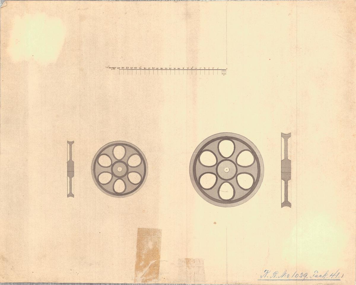 Detaljritning å gjutna järnhjulstrissor för repslagarebanan