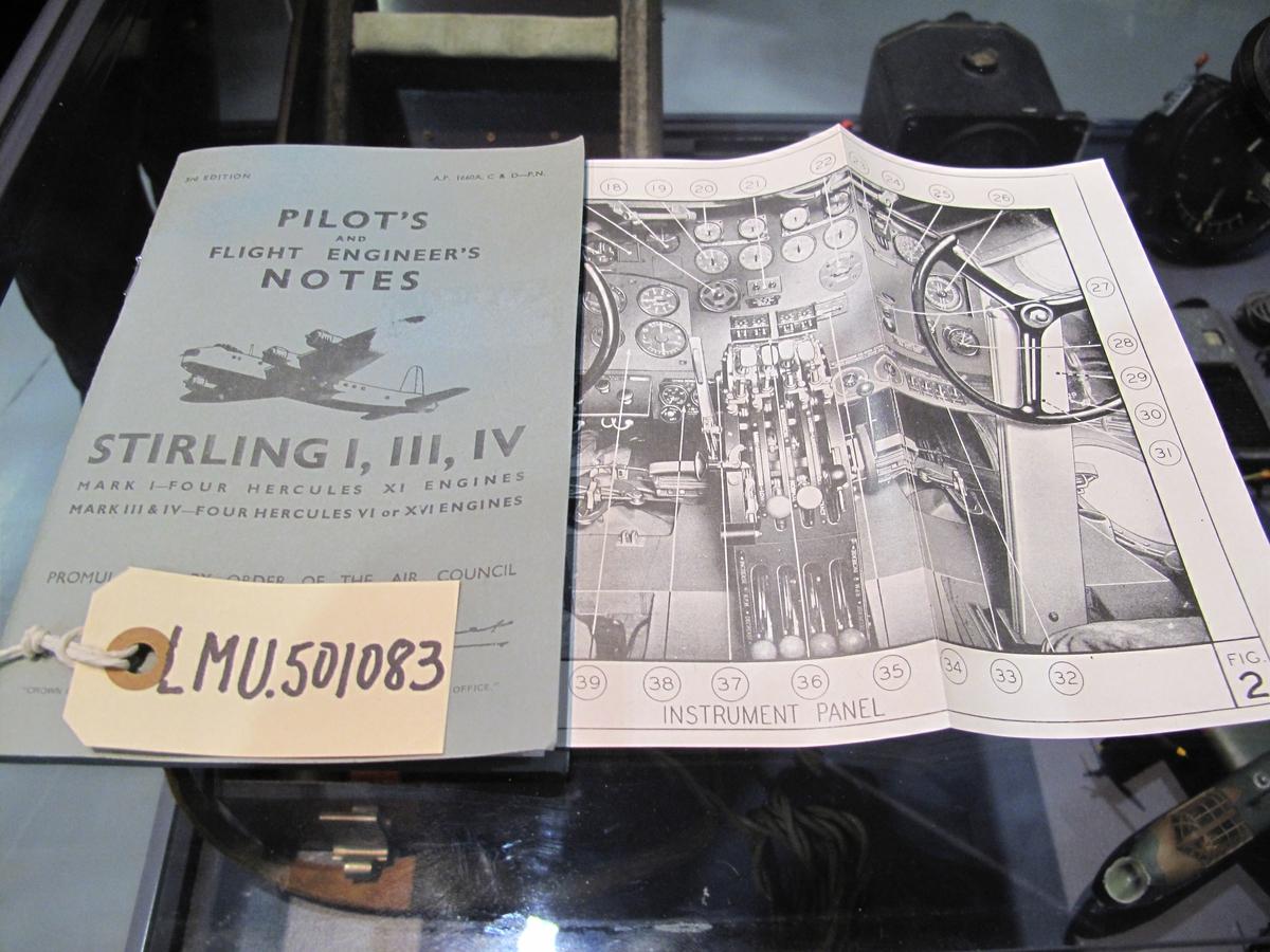 Pilot's notes var tekniske publikasjoner som beskrev tekniske og operative forhold som besetningene måtte vite om den enkelte flytype. Det utstilte heftet omhandler Short Stirling Mk I, III og IV. Utstillingen er dedikert slippoperasjoner over norsk område.