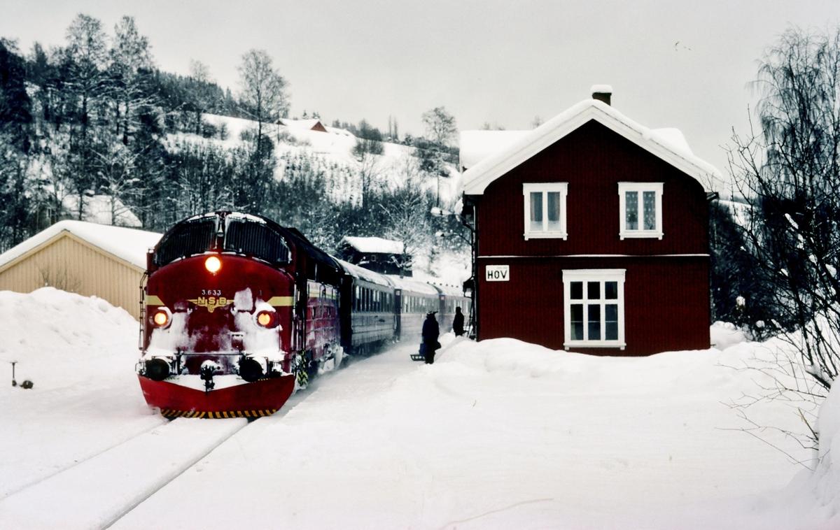 Persontog 281 til Fagernes på Hov stasjon.
