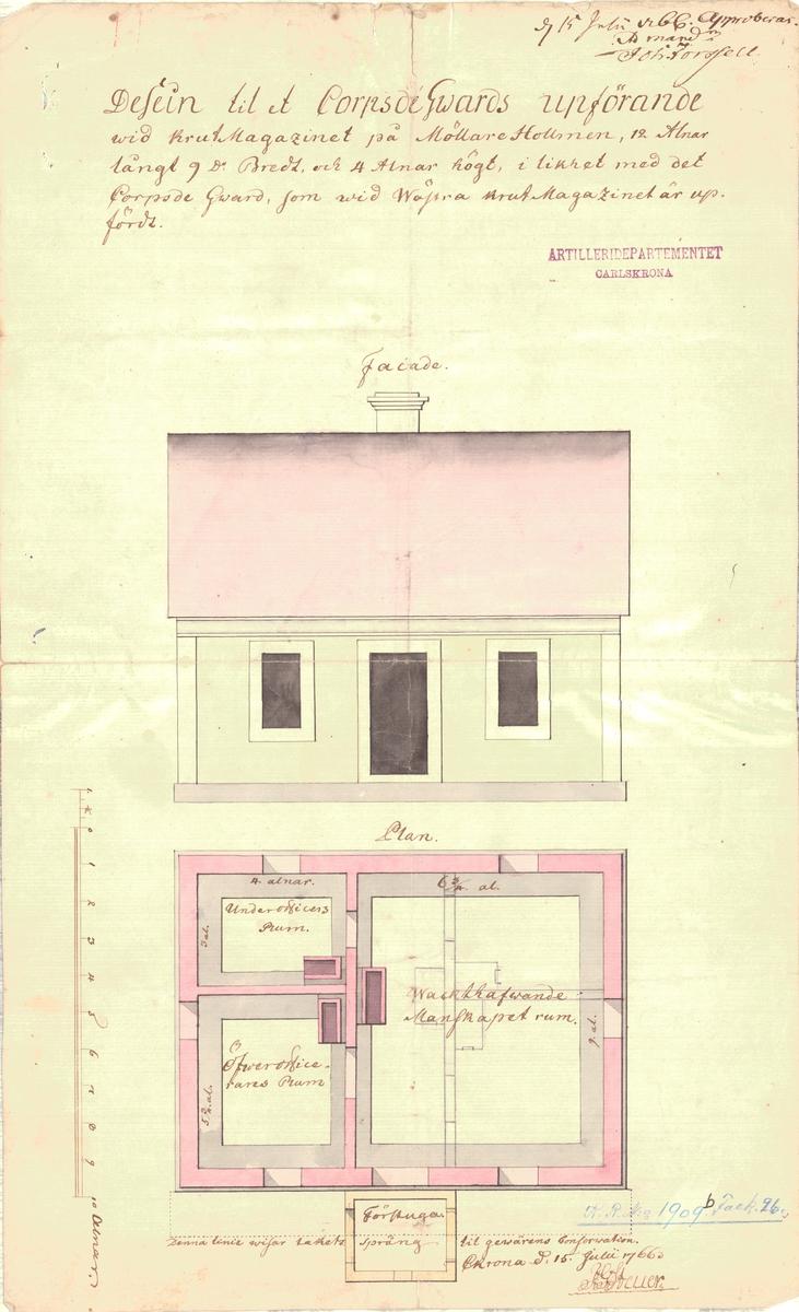 Dessein till projekterat corps de guarde uppå Ljungskär, samt dessein till ett corps de guardes uppförande vid krutmagasinet på Mjölnareholmen. fasad- och planritningar