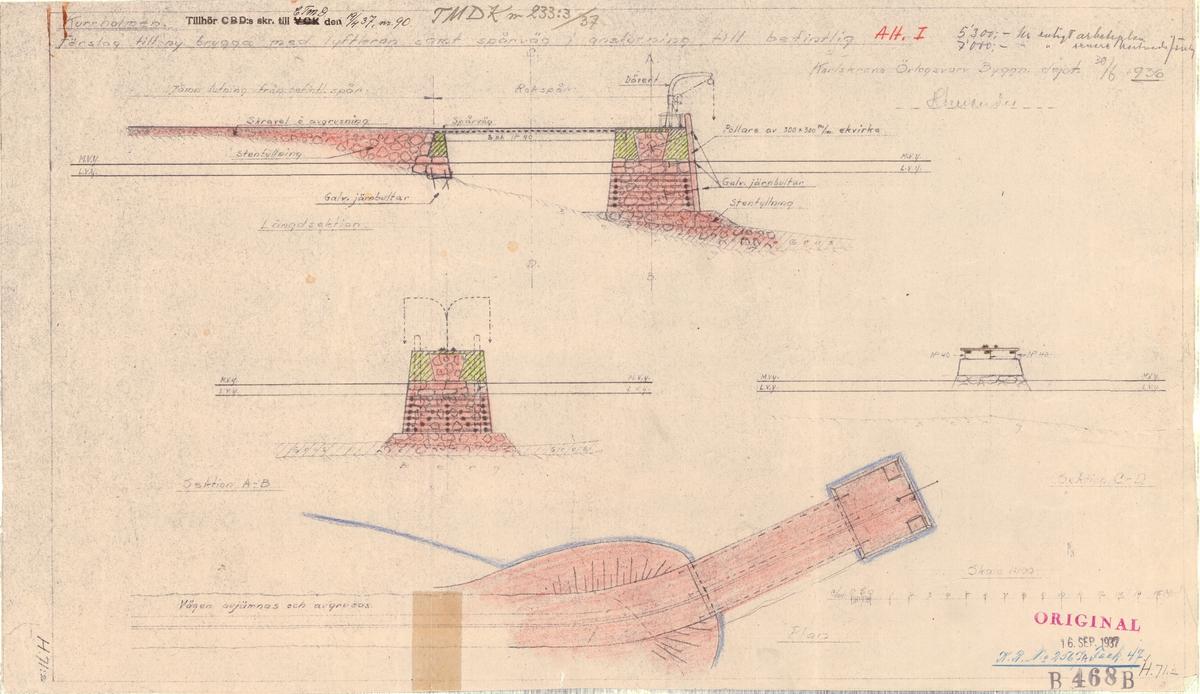 Brygga på Kurrholmen Förslag till ny brygga med lyftkran samt spårväg i anslutning till befintlig, alternativ I, II och III