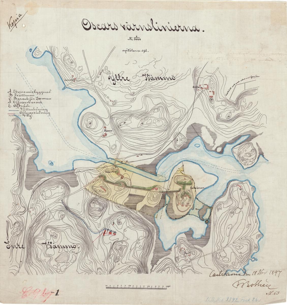 Karta över Oscars värnlinjerna, upprättad 18 november 1897 av  F. Bothén