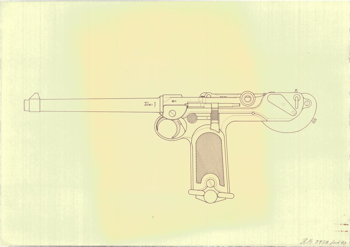 Ritning på halvautomatisk pistol