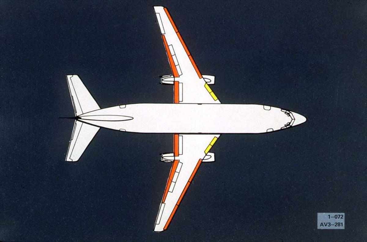 Tegning av en Boeing 737-200 sett ovenfra.
