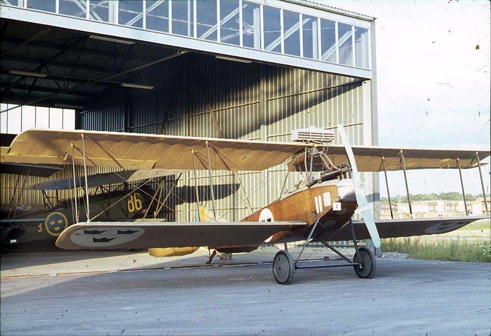 Ett fly på bakken foran en hangar, Albatross. Ett fly inne i hangaren.