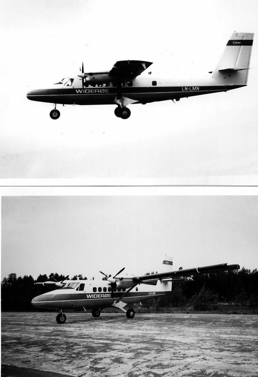 De Havilland DHC 6, Twin Otter 200, LN-LMN, fra Widerøe. To samensatte foto, ett av flyet i luften og ett av flyet på bakken.