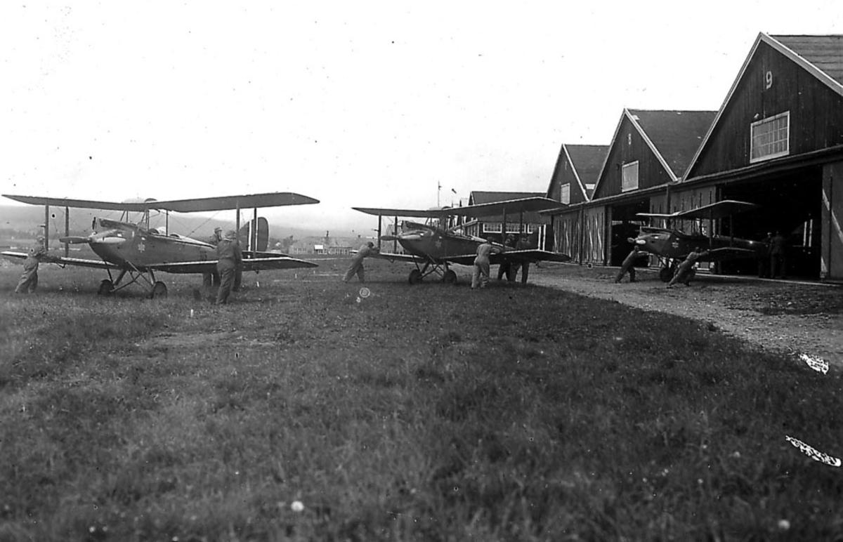 Kjeller lufthavn, flere personer flytter  tre De Havilland DH. 60M Gipsy Moth  inn i en hangar.