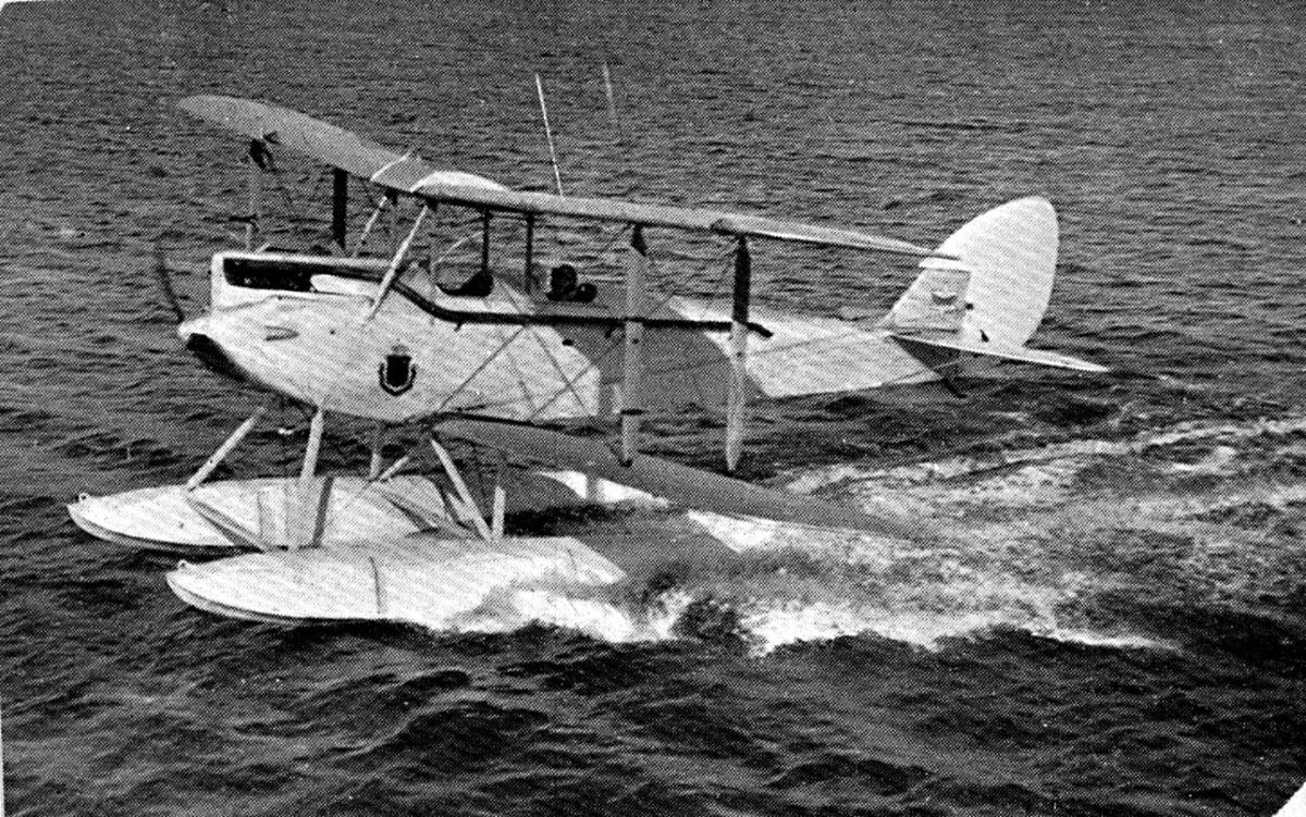 1 fly på vannet i fart, DH-60 Moth, N.20 LN-ABJ fra Halle & Peterson, Oslo.
