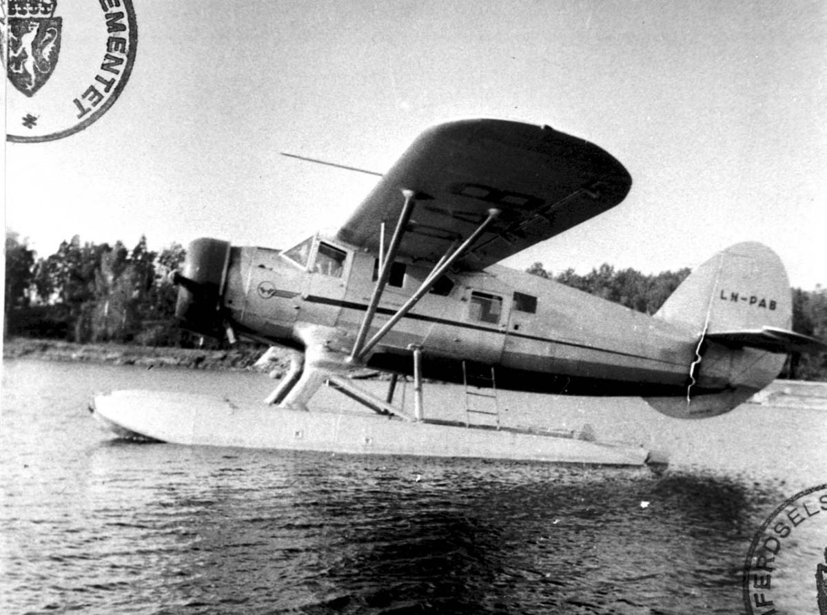 1 fly på havet, Noorduyn Norsemann VI-UC-64A-ND LDB 191 LN-PAB fra Polarfly.