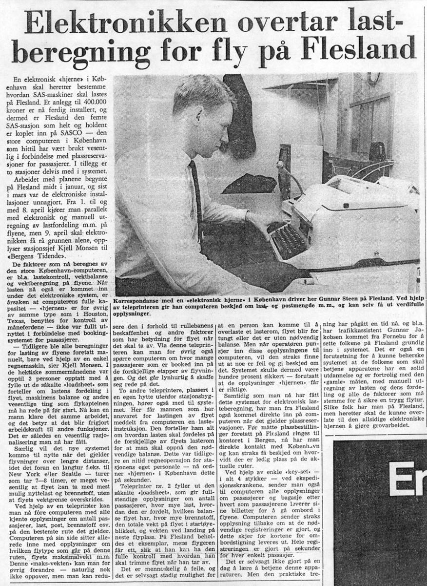 Maskinkopi av avisutklipp. (Tekst og foto).