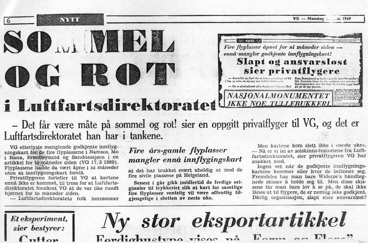 Maskinkopi av avisutklipp. (Tekst).