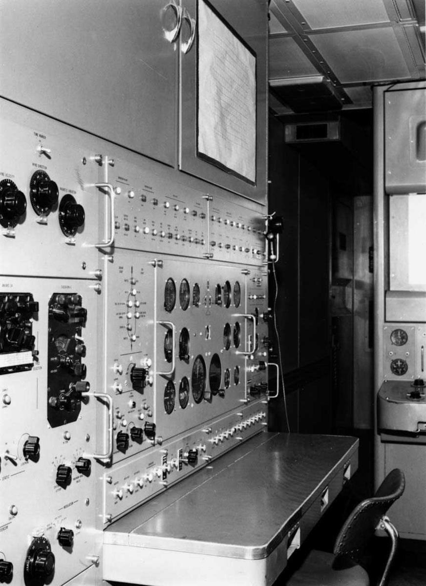 Lufthavn-flyplass.     Interiør fra F-86K simulator i Bodø.
