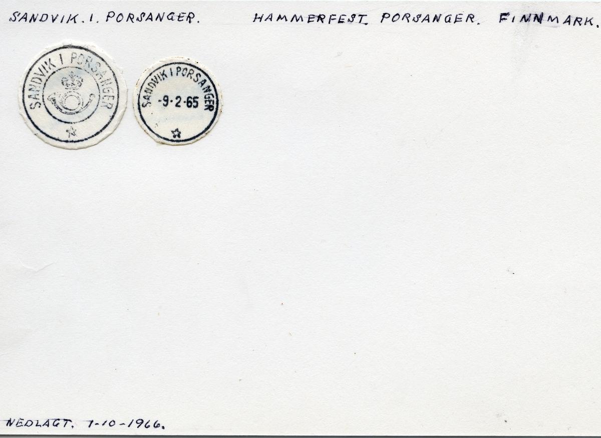 Stempelkatalog  Sandvik i Porsanger, Porsanger kommune, Finnmark (Sandvik i Kistrand 1937)