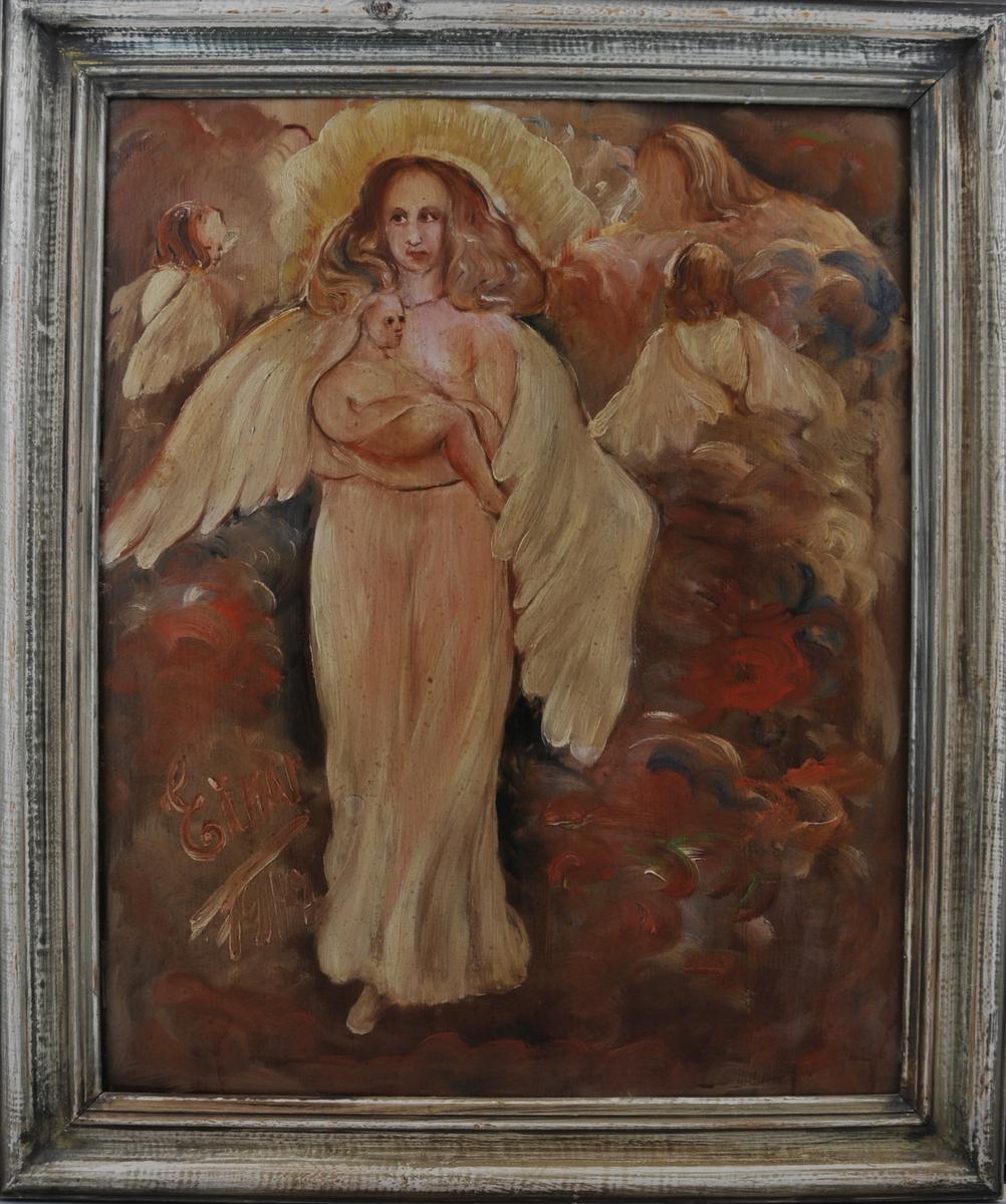 Motiv av madonna med barnet og to englar som svevar rundt, i duse gulrosa fargar.