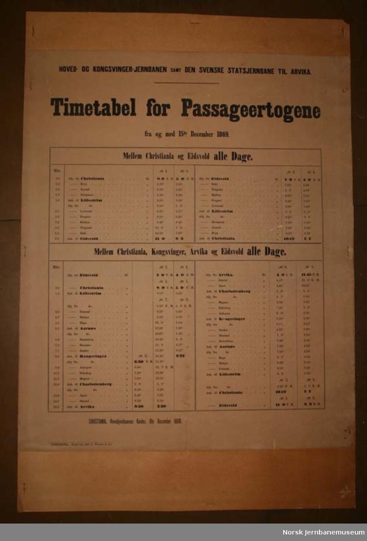 Rutetabell for persontogene på Hoved- og Kongsvingerbanen - 1869