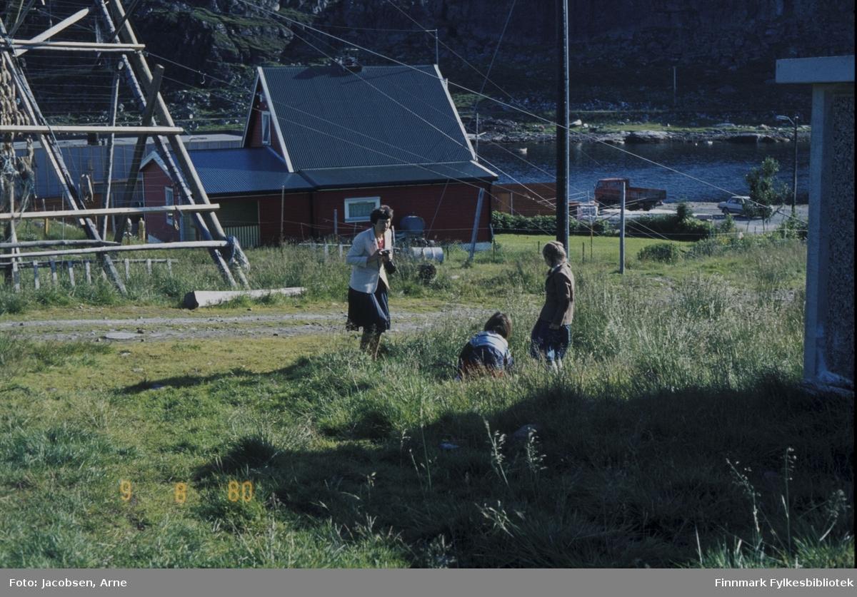 Sommeridyll. Synnøve Nogva, Børge Nogva(sittende i gresset med ryggen til) og Malene Nakken. Synnøve med mørkt skjørt og lys jakke. Malene lener seg til en el-stolpe og har skjørt og en jakke på seg. Området der de er har stort sett gressdekke. En grusvei går mellom dem og fiskehjellen. Helt til høyre står en trafokiosk og helt til venstre står en fiskehjell med litt fisk hengende på. Et hus med tilbygg står midt på bildet. Tråder og ledninger går på kryss og tvers, både fra stolpen som står der og huset. Nederst til venstre ses taket av en annet hus. Et klesstativ står i hagen og en personbil står parkert nede ved fergeleiet. Sjøen ligger blikkstille  og på andre siden av vannet ser man en vei som går langs strandkanten.