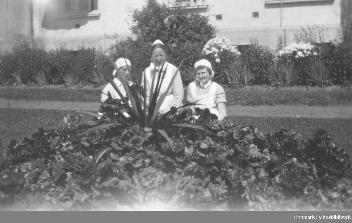 Gruppebilde av tre ukjente kvinner. De sitter foran en lys murbygning. Kvinnene er kledt i sykepleieruniformer? På bildet er det blomster langs veggen, og foran de tre personene