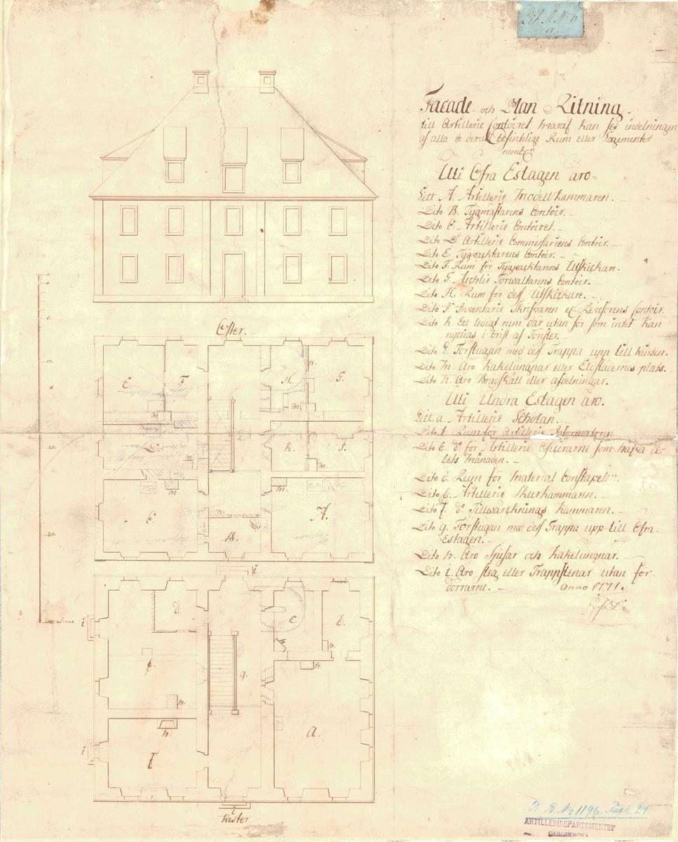 Fasad- och planritning av artillerikontoret