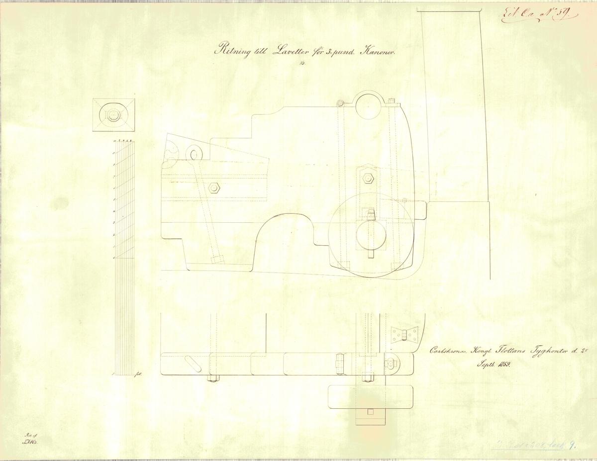 Ritning till lavetter för 3 pundiga kanoner