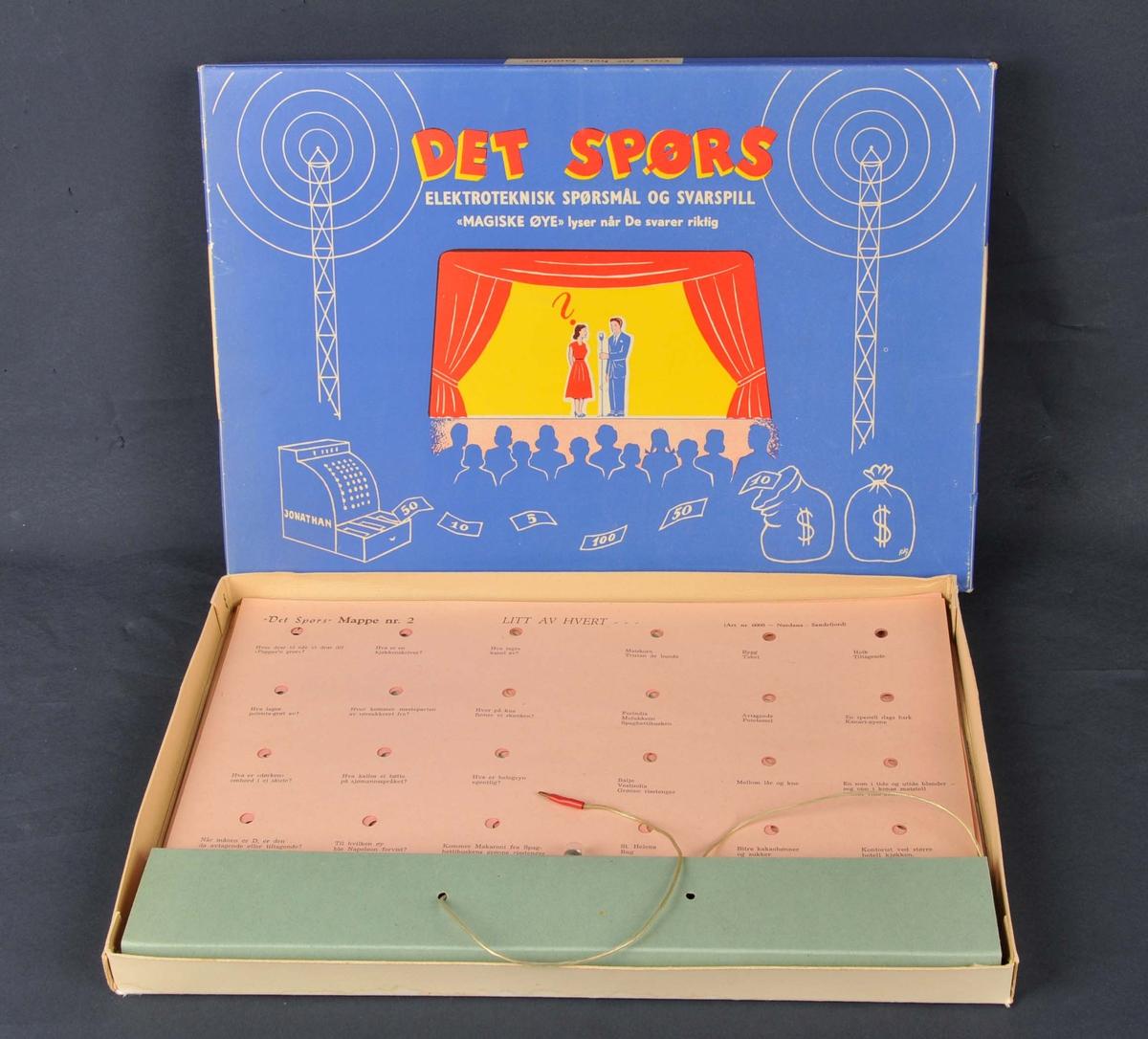 Spørsmål og svarspel. 7 brett med spørsmål. I botnen tynn metallplate. Over kvart av spørsmåla er det eit hol. Nederst på brettet lyspære festa til elektroder. Lampa skal lyse når svaret er rett.