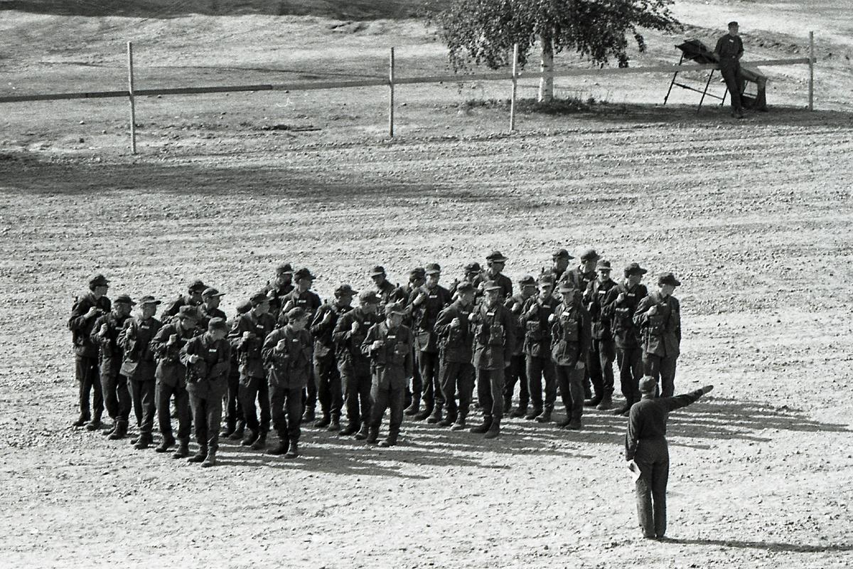 Exercis vid I 21 Västernorrlands Regemente, Sollefteå.