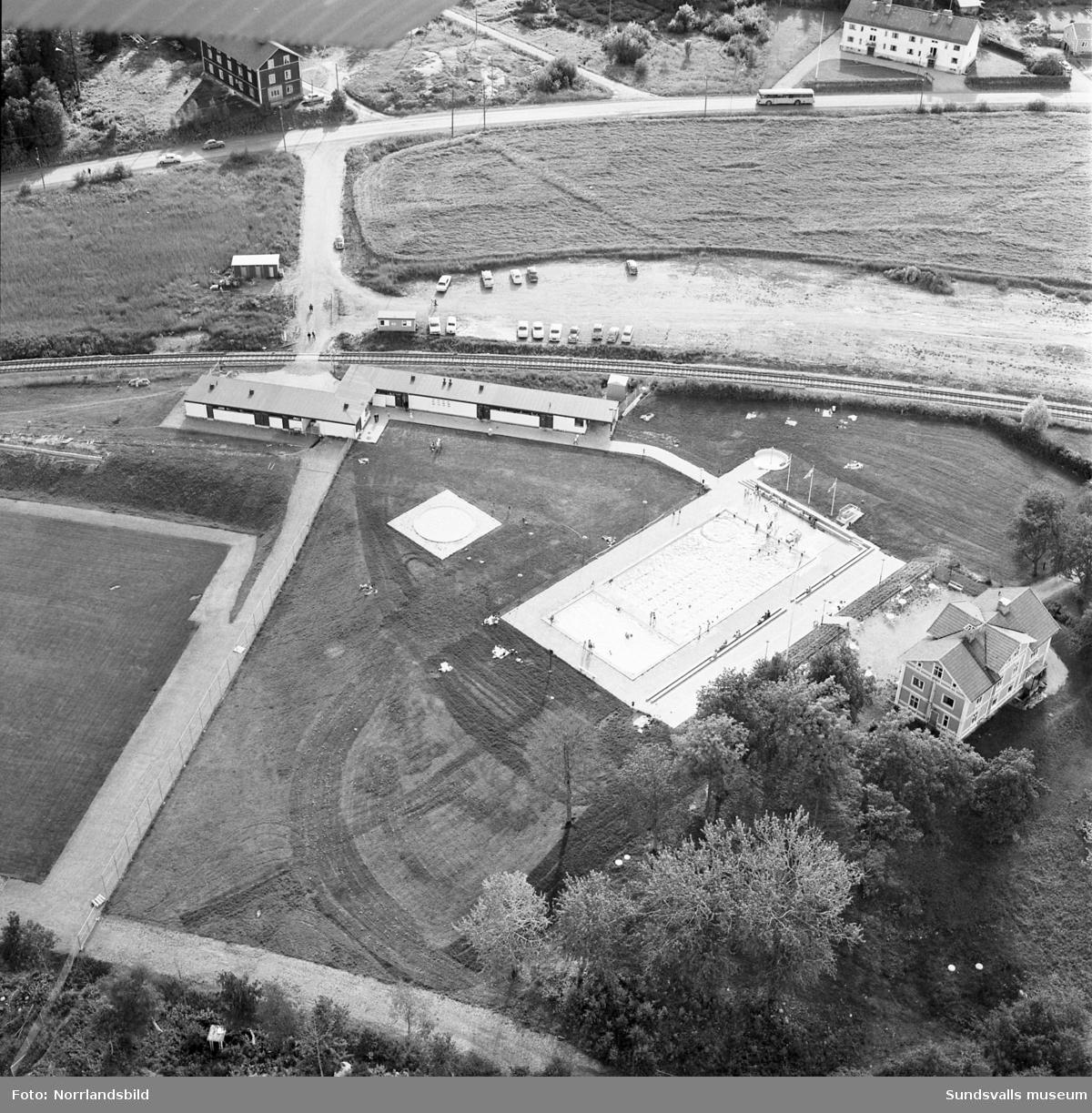 Flygfoto över Malandsbadet i Sundsbruk.