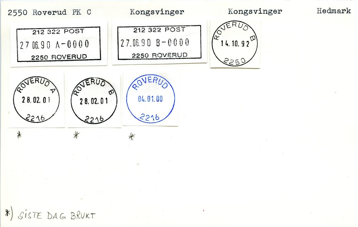 Stempelkatalog 2550 Roverud, Kongsvinger, Hedmark