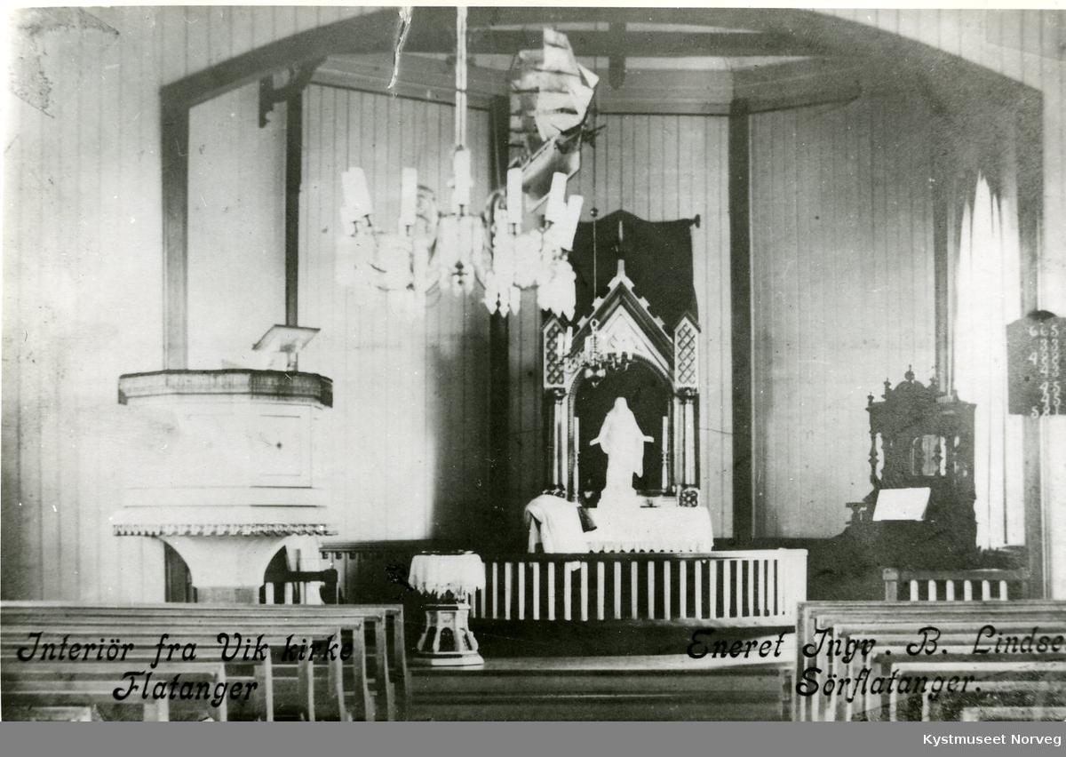 Interiør fra Vik Kirke i Flatanger
