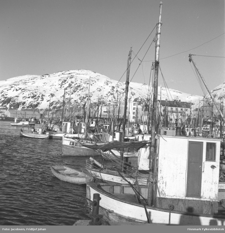 Hammerfest havn med en masse fiskebåter sett fra Rådhuskaia. Findus-anlegget ses midt på bildet og Mollafjell står i bakgrunnen.