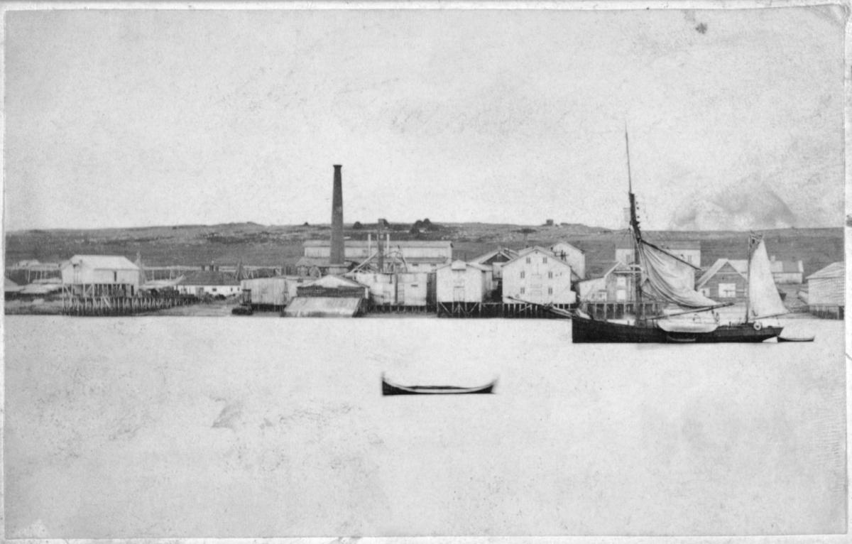 Sven Foyns hvalfabrikk på øya. Ei seilskute til høyre, en liten båt midt på bildet.  Bildet er nesten identisk med Fb.96010-082, der er det brukt samme  plate men kopiert litt mer på høyre side og litt mindre på den venstre. 96010-082 er også blekere