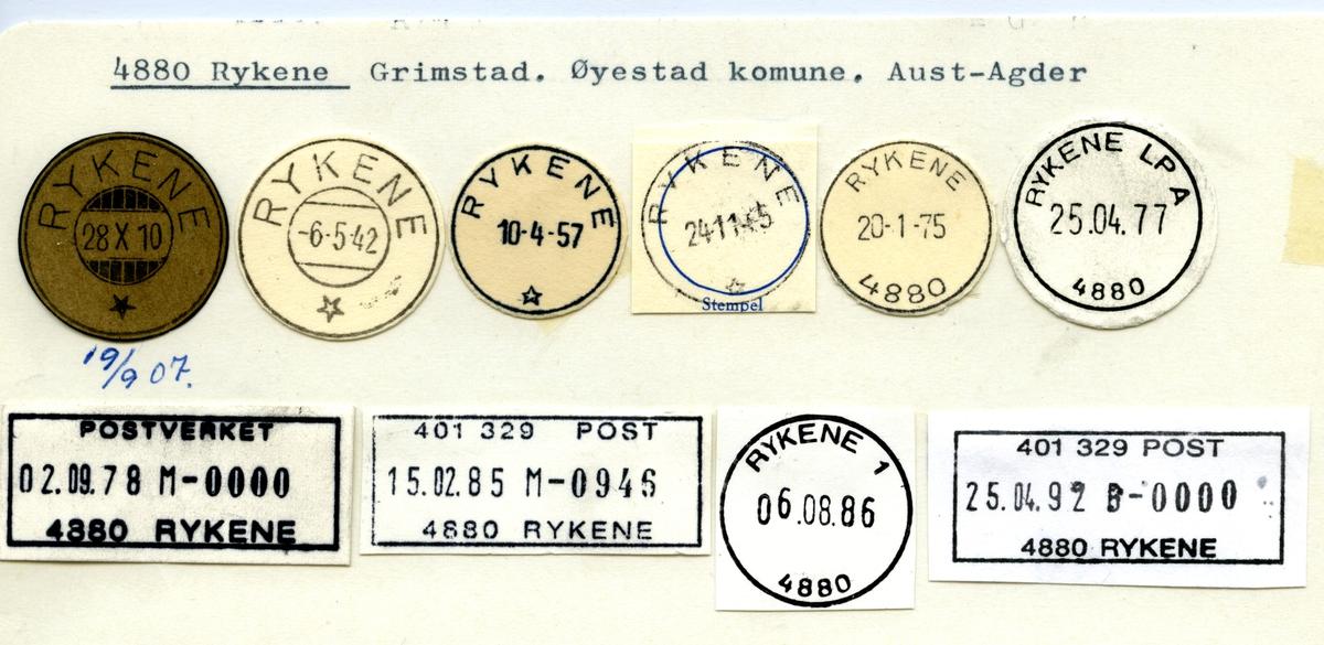Stempelkatalog 4880 Rykene, Øyestad, Aust-Agder