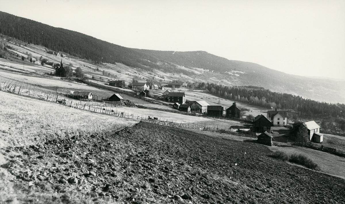 Oversiktsbilde over Lomen, med stavkirka til venstre