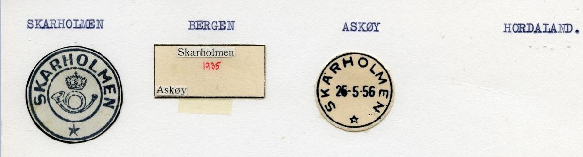 Stempelkatalog  Skarholmen, Askøy kommune, Hordaland