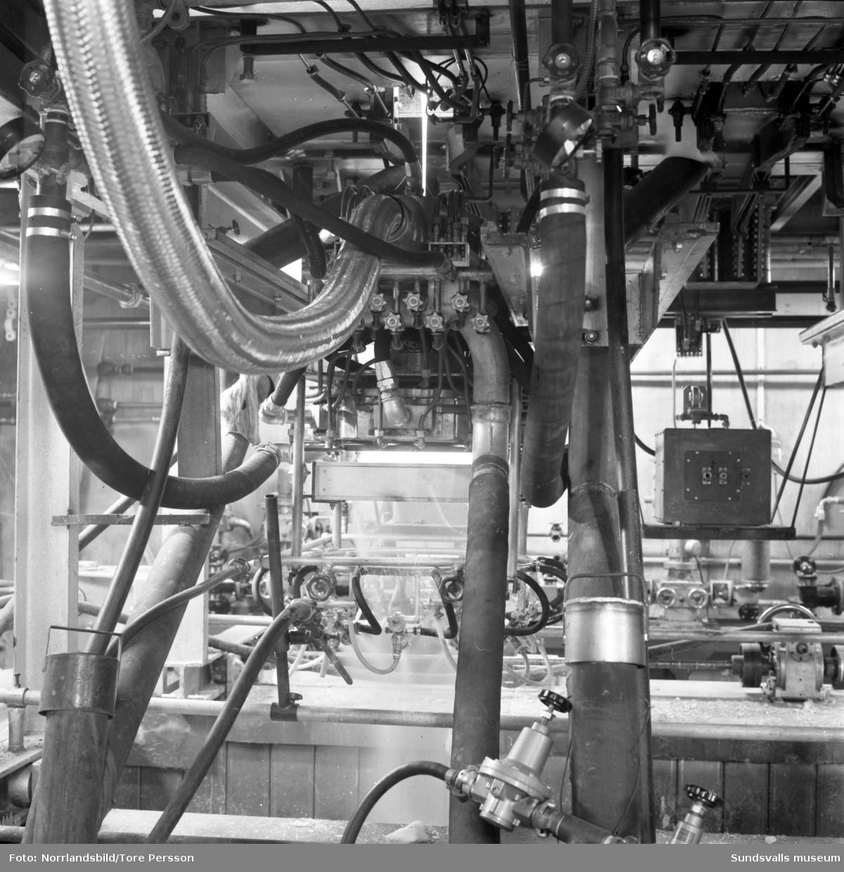 Gullhögen (senare Gullfiber) i Söråker, exteriör, interiör och maskiner.
