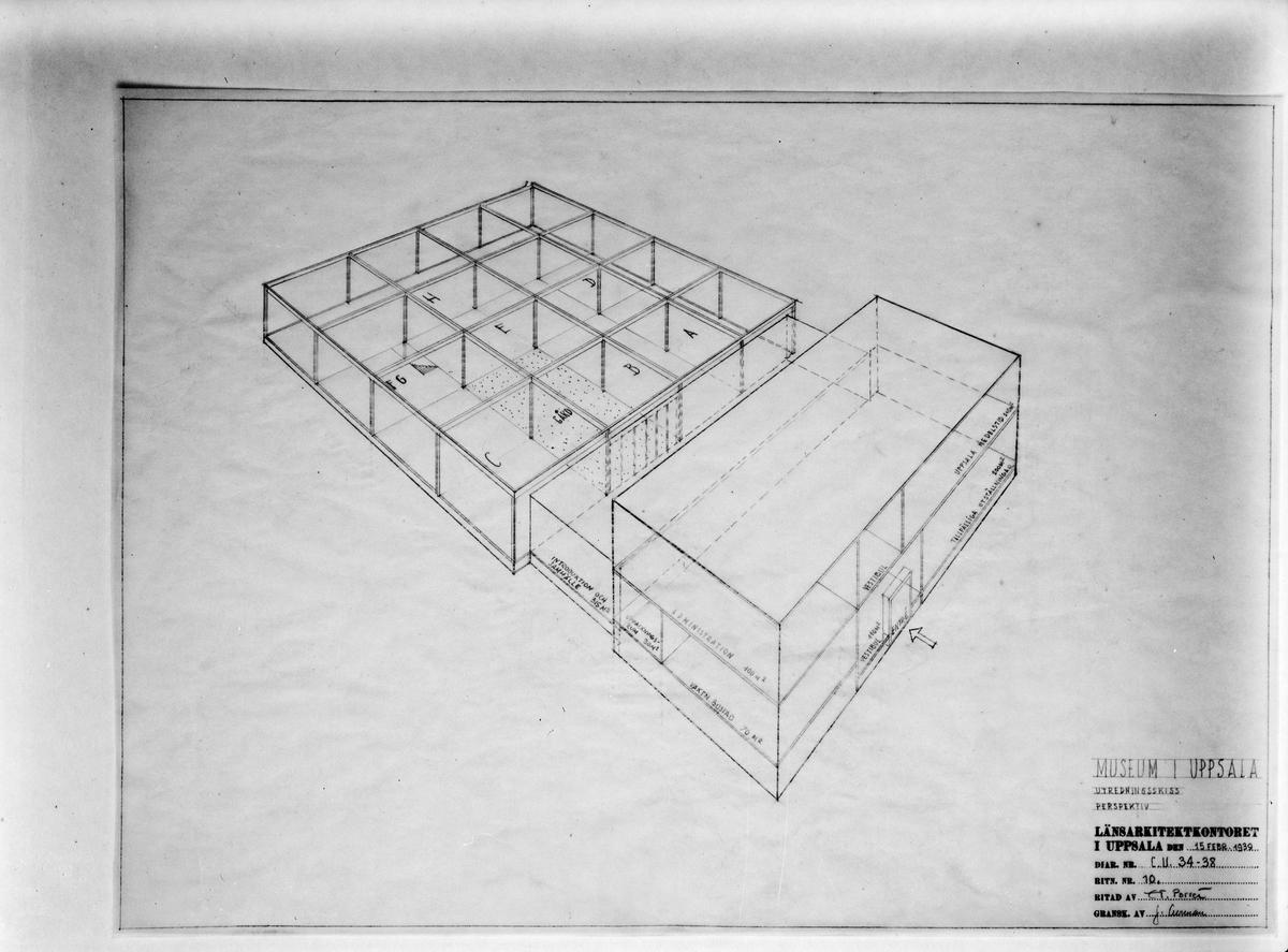 Ritning - förslag på museum, sannolikt Upplandsmuseet, Uppsala 1939