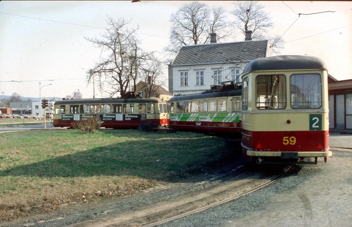 Sporvogner i Elgeseter sløyfe. Trondheim sporveier.