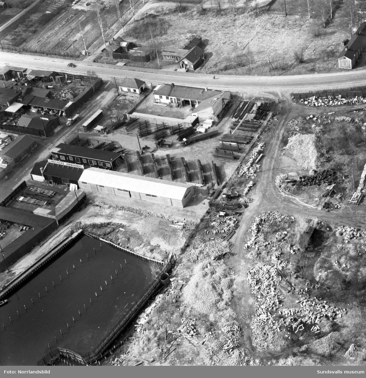 Flygfoto över Heffners där Lindgrens Järn hade lagerlokaler.