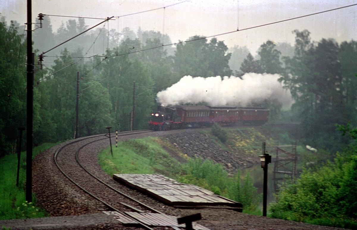 Veterantog med damplokomotiv 21b 252 ved Strandvik holdeplass mellom Jessnes og Brumunddal