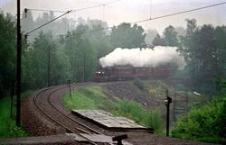 Veterantog med damplokomotiv 21b 252 ved Strandvik holdeplas