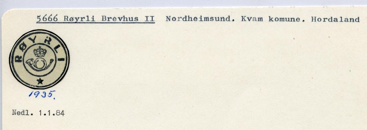 Stempelkatalog 5666 Røyrli, Kvam, Hordaland