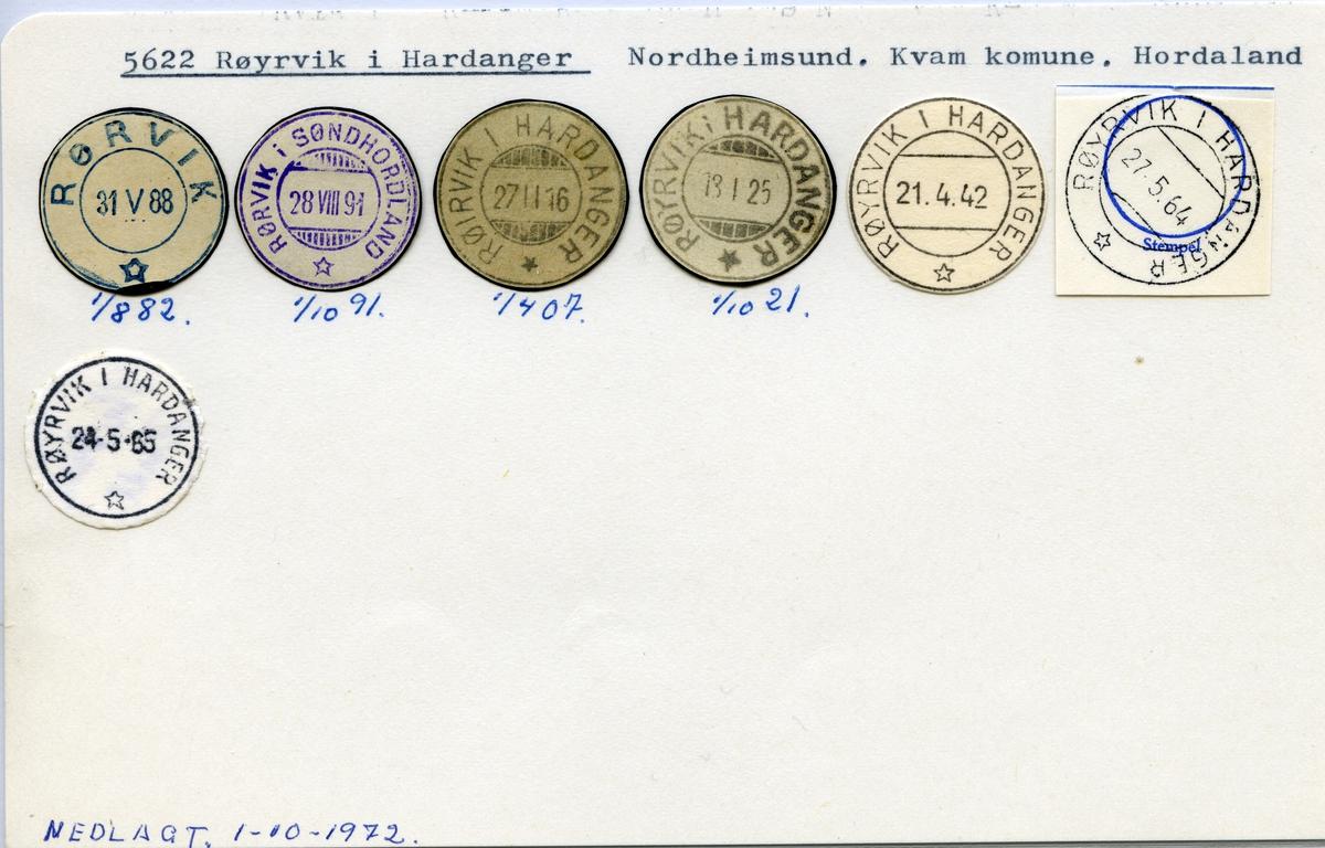 Stempelkatalog 5622 Røyrvik i Hardanger (Rørvik, Rørvik i Søndhordland, Røirvik i Hardanger),Kvam, Hordaland