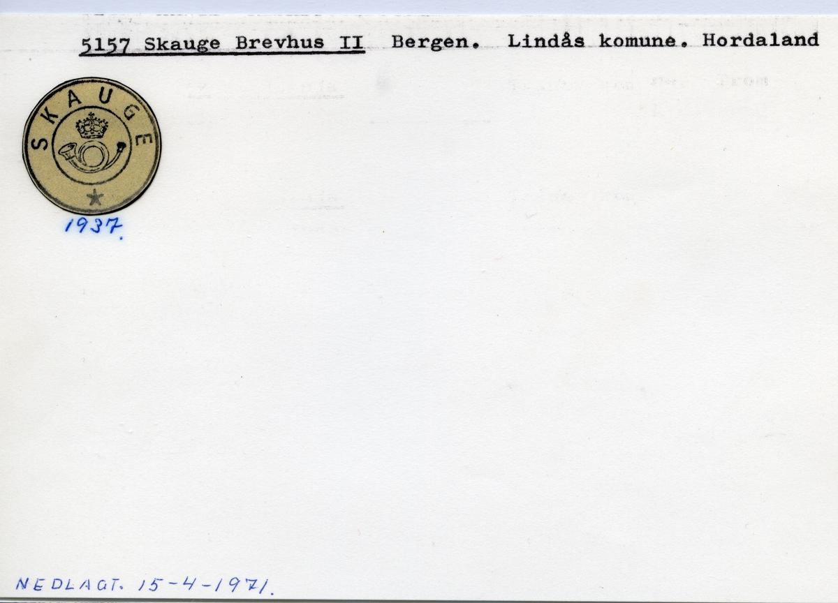 Stempelkatalog  5157 Skauge , Lindås kommune, Hordaland