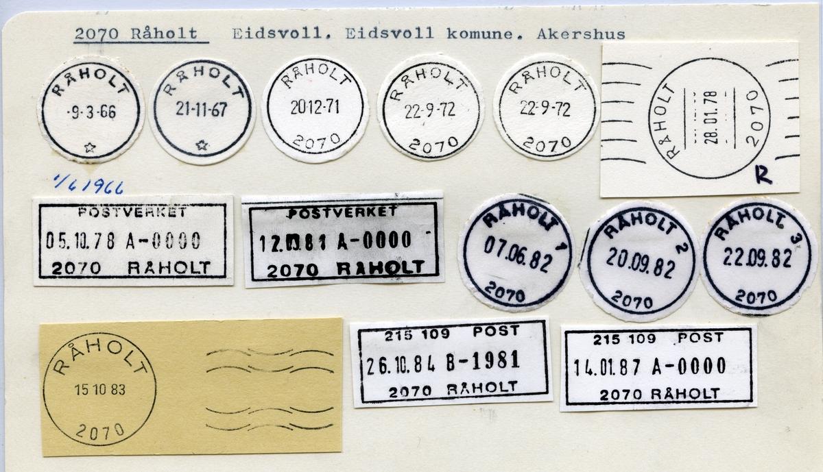 Stempelkatalog 2070 Råholt, Eidsvoll, Akershus