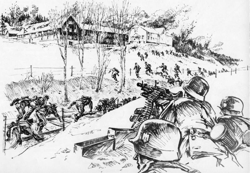 Tyskerne stormer Åset gård.