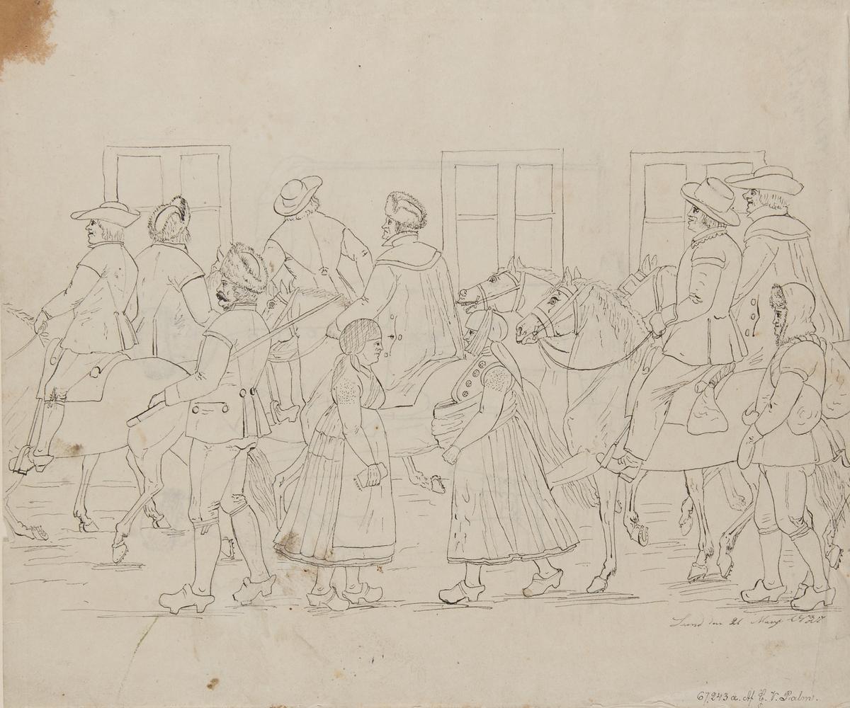 """Dräkt.  """"Lund den  21 Mars 1826"""" (? sista siffran svårläst)"""". Fotgängare och män till häst på en väg. Tuschteckning i storformat av G.W. Palm."""
