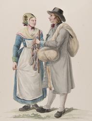 "Dräkt. ""Habitants de la Westergothie"" En knalle och en kvinn"