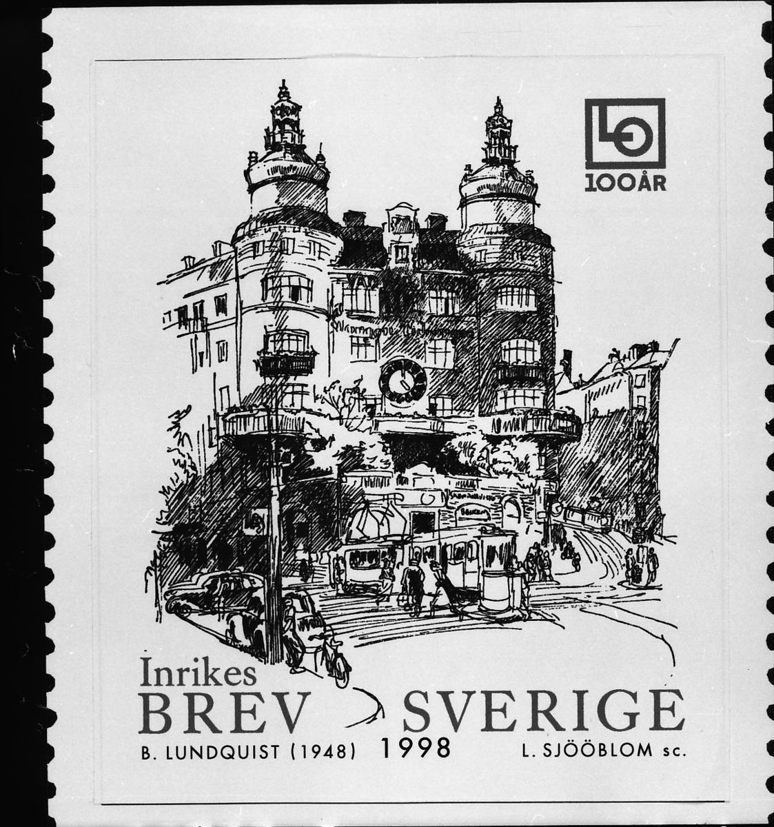 Originalteckning till frimärket Landsorganisationen (LO) 100 år, 1998.