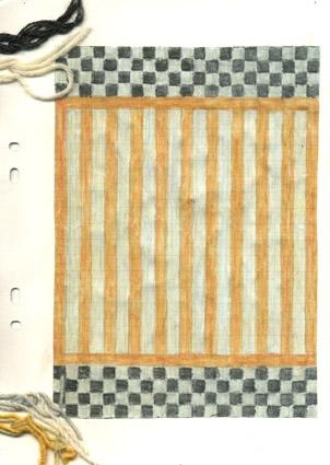 3 st färgskisser till matta i dubbelbindning, olika färgvarianter av mattan Schack och Matt. Vattenfärgsmålat och ritat på papper limmat på kartong. Bård med rutor längs kortsidorna. Smalare ränder  i mitten. Alla 3 skisserna har garnprover fästa i kanten. Osignerade originalskisser av Anna Hådell. WLHF-1294:1 - Svart och vit kantbård. Mittränder i gult och vitt. WLHF-1294:2 - Svart och grön kantbård. Mittränder i svart och vitt. WLHF-1294:3 - Svart och vit kantbård. Mittränder i ljusblått och vitt. Matta vävd efter varianten 1294:1 - visades i utställningen Anna Hådell och Hemslöjden på Leksands kulturhus museum 1991 och var vävd samma år. Mått 1.46x2.15.