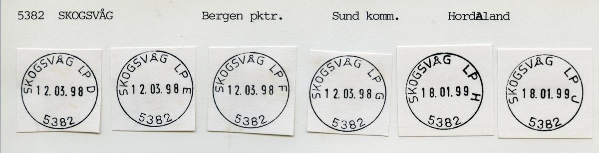 Stempelkatalog  5382 Skogsvåg, Sund kommune, Hordaland